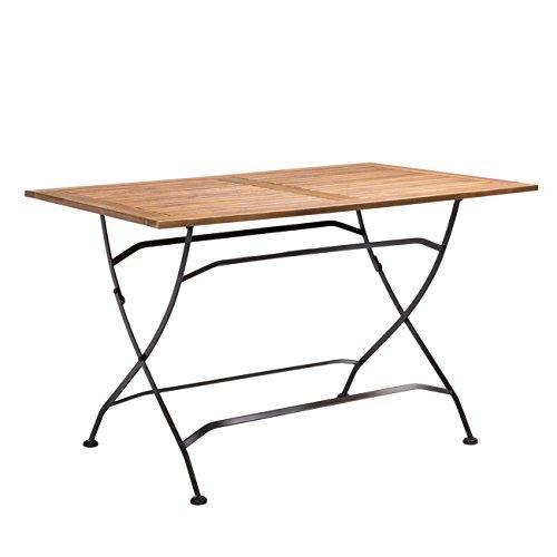 OUTLIV. Gartentisch Starnberg Biergarten-Tisch 120x80 cm Stahl/Akazie Schwarz Tisch Garten