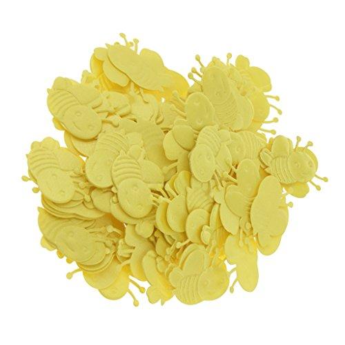 Fenteer 100x Biene Konfetti Applique Patch Stickerei, Jede Anlässe und Zeit Verwendung - Gelb - 100 Applique