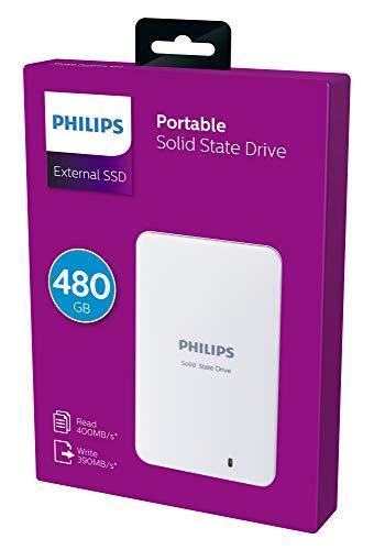 Philips Externe SSD 480 GB/Go, USB 3.0, 400 MB/s - 390 MB/s, weiß