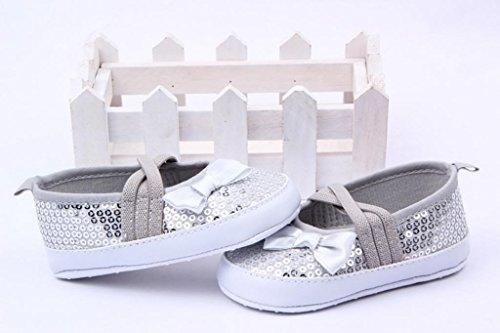 Smile YKK Bébé Unisexe Chaussure Premier Manche Pailleté Souple Pour Enfant Sole Dérapage Argenté