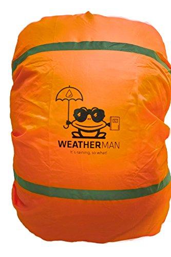 Weatherman wasserdichter Regenschutz für Schulranzen und Rucksack, Signalfarbe, mit Gummizug, Regenhülle, Sicherheitsüberzug, Sicherheitshülle, Schutzhülle, Regenschutzhülle (Orange)