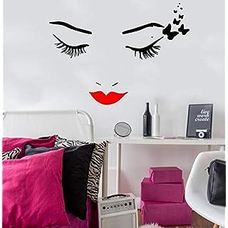 Rote Lippen weibliches Gesicht Vinyl Home Art Deco Wandaufkleber