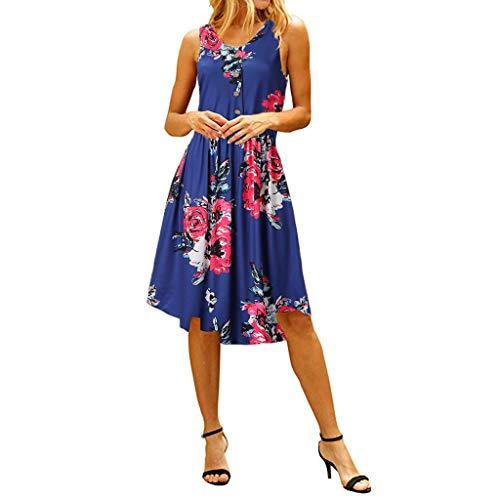 OIKAY Sommerkleider für Frauen Ärmelloses, lässiges U-Ausschnitt-Midikleid mit Blumendruck und Taschen Ärmelloses Sommerkleid mit lässigem Rundhalsausschnitt