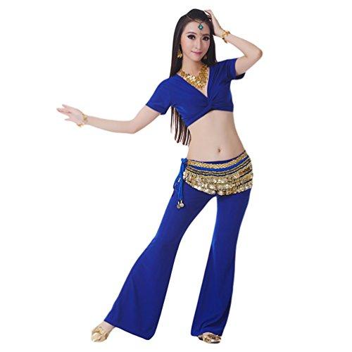 YiJee Danza del Vientre Trajes de Mujeres Rendimiento Top y Pantalones Zafiro