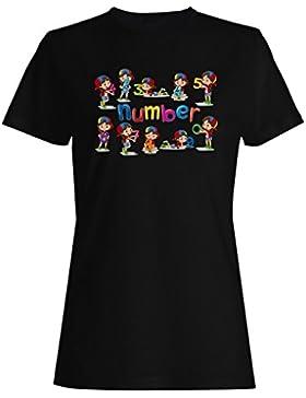 Niña-Números-Cero-Nueve camiseta de las mujeres i701f