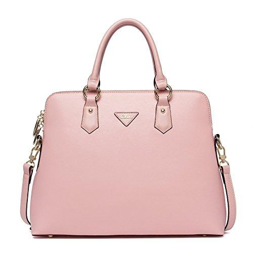 CLUCI Damen/Mädchen Ledertasche Handtasche Umhängetasche Schultertasche Klein Gelb 1-Rosa