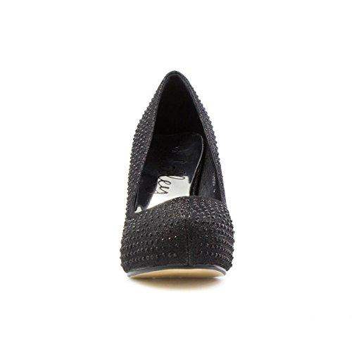 Lilley-plateforme strass escarpin noir Noir - noir