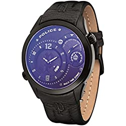 Police Men's Quartz Watch with Black Dial Analogue Display and Black Leather Strap 14195JSB/02