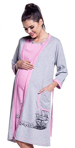 San Francisco fa3a2 9c429 Zeta Ville - Prémaman set neomamma camicia da notte e vestaglia - donna -  379c (Rosa, IT 44, M)