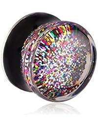 Bubble Körperschmuck nur ein Stück (nicht ein Paar) Plugs und Tunnel - Acryl Doppel Ausgestelltes Stecker mit eingelegtem Glitters 1mm