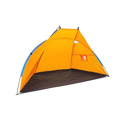 Relaxdays Strandmuschel, HxBxT: 120 x 220 x 120 cm, mit Transporttasche, UV 80, leicht, Strandzelt, dunkelblau-orange - Strand Zelt Sonne