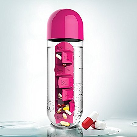 Okayji Plastic Pill Organizing Storage Bottle with Drinking Cup, 600ml, Pink