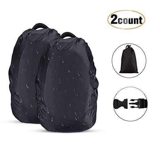 AGPTEK 2 Stück Wasserdichter Regenschutz Rucksack Cover Regenhüllen Regenabdeckung für Camping Wandern, Schwarz