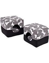 LEI ZE JUN UK- Bones Prints Double usage Pet Bed Dog Cube Bed Nid d'animal familier pour petits chats d'animaux Chiens de petite taille avec coussin d'épaisses Super confortable Canapé Canapé Lit de grotte de chat Super chaud Maison pour animaux de compagnie