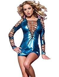 saphira mode. Minikleid in blau Vinyl. Schnürung auf den Armen die Brust und Rücken. Geeignet für Größen S bis L