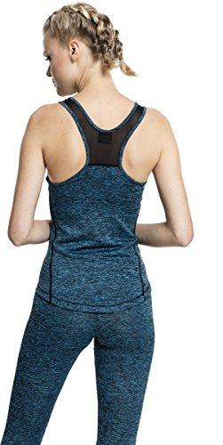 Urban Classics Ladies Active Melange Trainings Top, T-Shirt de Sport Femme Mehrfarbig (Turquoise/Black 1178)