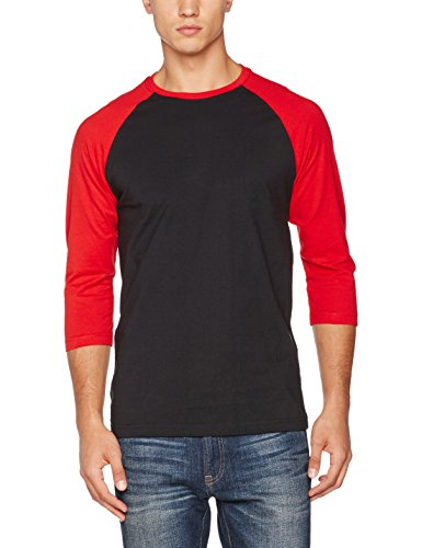 Urban Classics Herren T-Shirt Contrast 3/4 Sleeve Raglan Tee Mehrfarbig (blk/red 44)