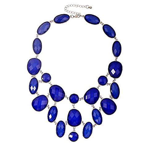 Forever & Moment Royal Blue Bib Chunky Necklace Fashion Jewellery Statement Necklace Party Jewellery