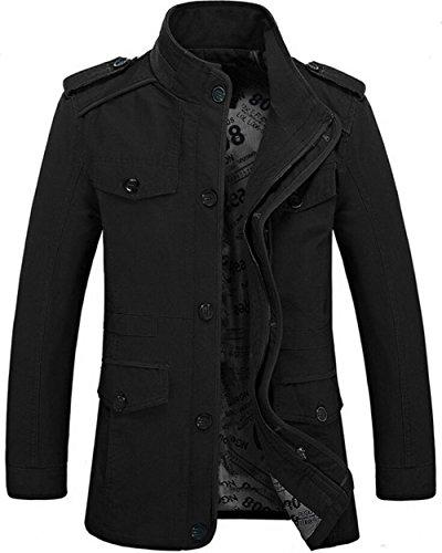 Herren Army Militär Jacke Baumwolle Parka Übergangs Herbst Classic Multi-Pocket Cargo Style Jacke Mäntel (DE L / Asien XXXL, Schwarz 06) (Mantel Militär Herren)