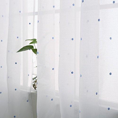 Deconovo tende voile ricamate pois pattern tende trasparenti con occhielli per bambini 140x260 cm celeste 2 pannelli