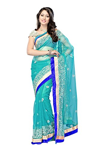 Pishu Fashion Net Saree (Bolrepbludeep_Blue)