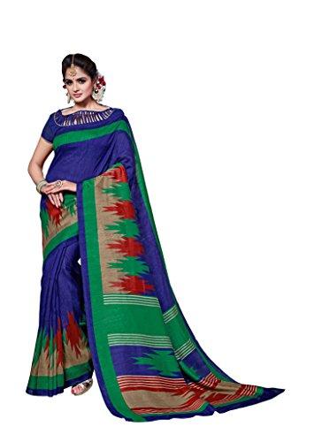 Dream Beauty Fashion Sarees Daily Wear Stripe & Geometric Print Navy Blue Color Cotton Sari With Blouse (Malgudi-4348)