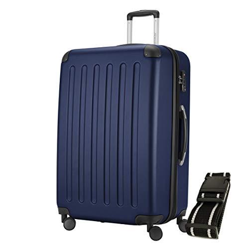 Hauptstadtkoffer - Spree Hartschalen-Koffer-XL Koffer Trolley Rollkoffer Reisekoffer Erweiterbar, 4 Rollen, TSA, 75 cm, 119 Liter, Dunkelblau inkl. Gepäckgurt