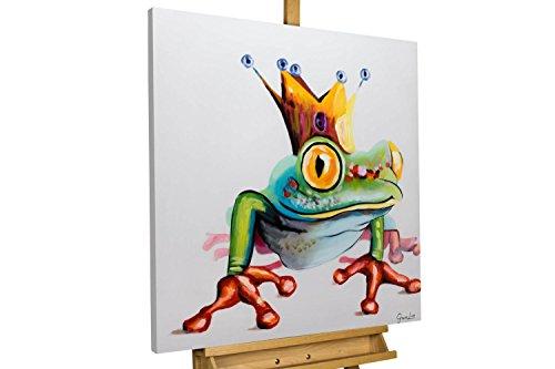 KunstLoft® Acryl Gemälde 'Froschkönig' 80x80cm | original handgemalte Leinwand Bilder XXL | Frosch Tier Froschkönig Krone | Wandbild Acrylbild moderne Kunst einteilig mit Rahmen