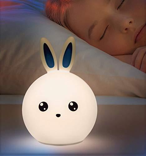 Lámpara infantil recargable mesilla noche forma conejo