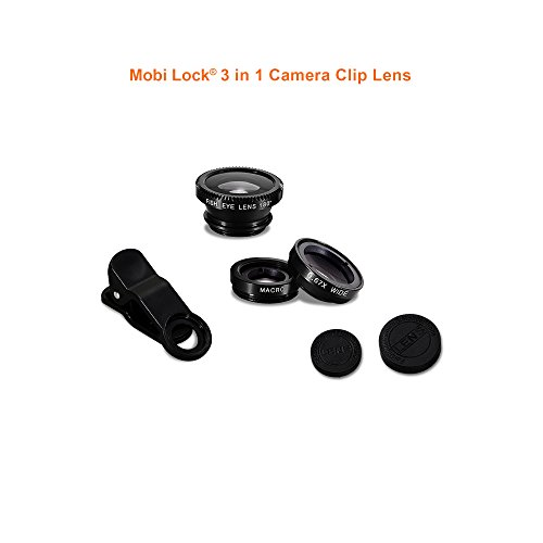 Mobi Lock 3-in-1 clip-on HD Camera Lens with 180 Degree Fish Eye Lens, 0.67X Wide Angle and 10X Macro Lens for all iPhones, iPads, Smartphones and Other Tablets
