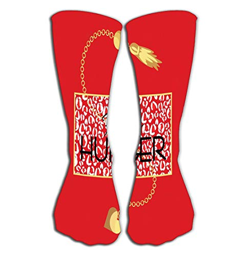 Outdoor Sports Men Women High Socks Stocking Fashion Hunger Slogan Animal Print red Background Leopard Spots Gold Chain necklacehirt Apparel Tile Length 19.7