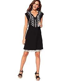 e7832ac18 VENCA Vestido Estampado en el Escote con Cordones Mujer by Vencastyle -  027226
