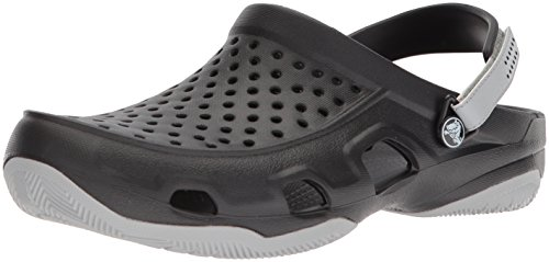 Crocs Swiftwater Deck Clog Men, Herren Clogs, Schwarz (Black/light Grey), 42/43 EU42/43 EU