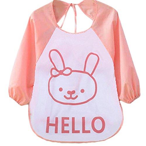 Feitong Cute Kids niños de plástico translúcido suave bebé impermeable baberos para bebébaby impermeable para niños, estampados divertidos naranja rosa