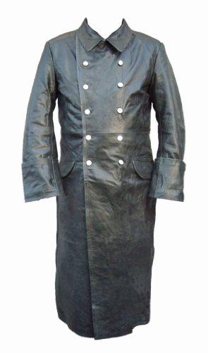 Manteau Officier En Cuir Noir
