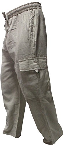 Shopoholic FASHION HERREN Seitentasche leichte Baumwolle Boho Hippie Hose Creme