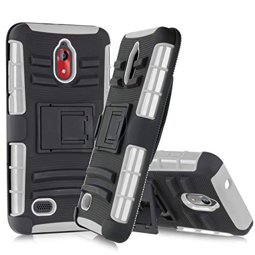 Customerfirst Schutzhülle für Coolpad Illumina 3310A (Boost, Virgin Mobile) mit drehbarem Gürtelclip, strapazierfähig, Dual Armor Hybrid Defender Case + Kickstand & Rugged Grip, grau Virgin Mobile