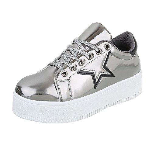 Low-Top Sneaker Damen-Schuhe Low-Top Sneakers Schnürsenkel Ital-Design Freizeitschuhe Silber Grau, Gr 40, 89-98-