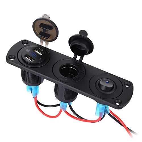 Thlevel Dual USB Car Charger Socket Panel mit 12V Zigarettenanzünder Splitter, LED Voltmeter und unabhängigem Schalter für 12V 24V Fahrzeuge Car Boat Truck Caravan (12v Dual Car Charger)