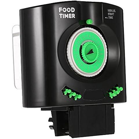 Anself - Alimentador Automático de Acuario Pecera,Temporizador Dispensador de Alimentos,Color Negro y Verde