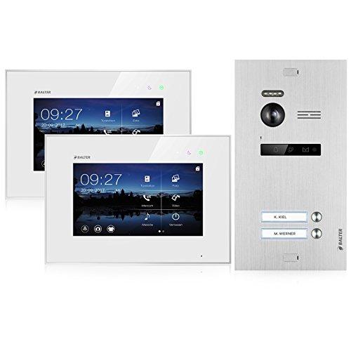 BALTER EVO Video-Türsprechanlage ✓ Touchscreen 7 Zoll Monitor ✓ Türstation für 2 Familienhaus ✓ 2-Draht BUS ✓ 150° Weitwinkel-Kamera (2 Familienhaus)