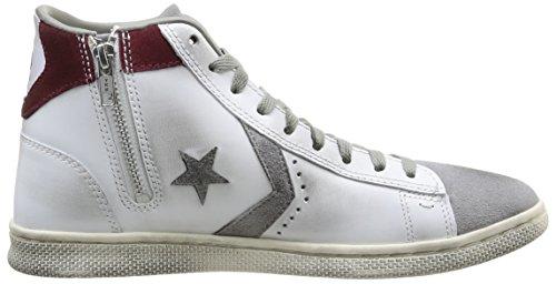 Converse, Pro Leather Lp Mid Lth/Sue Z T Sneaker,Unisex Adulto White/Drizzle Grey