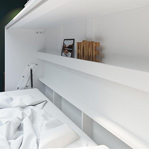 SMARTBett Basic 90×200 Horizontal Weiss/Nussbaum Schrankbett | ausklappbares Wandbett, ideal geeignet als Wandklappbett fürs Gästezimmer, Büro, Wohnzimmer, Schlafzimmer - 3