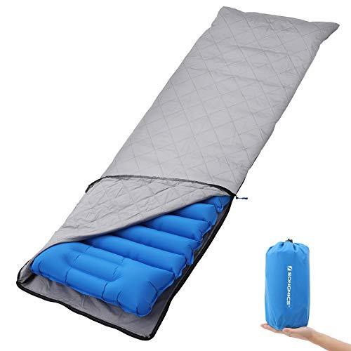 SONGMICS Ultra-leichte Luftmatratze, aufblasbare Isomatte mit integriertem Kissen und Stoffbezug, Luftsack zum Aufpumpen, Mobile Schlafunterlage, Reisen, Camping, Hängematte, Wandern, blau GSP03BUZ