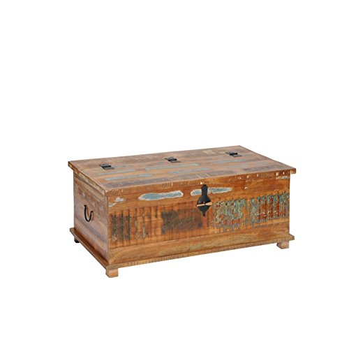 Couchtisch Truhe 'Allegro' Altholz massiv bunt Holz Teak lackiert vintage