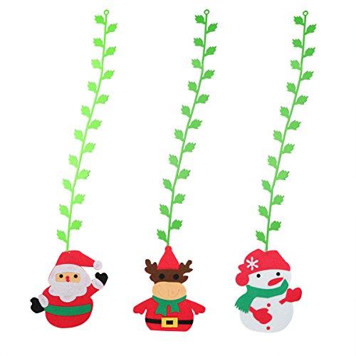 LUOEM Suspendu en Feutre de Noël Vigne Rotin Décoration d'arbre de Noël 3 pcs (Santa + Elk + Snowman)