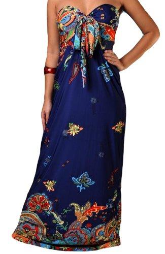 Femmes Angela Bandeau Nœud Buste Robe Maxi, tailles RU 8-22, Multiple Couleurs Bleu Foncé