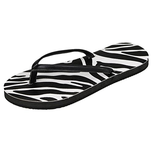 Zhhlinyuan Women's Casual Shoes Non-slip Flip Flops Summer Beach Sandals Slippers Zebra