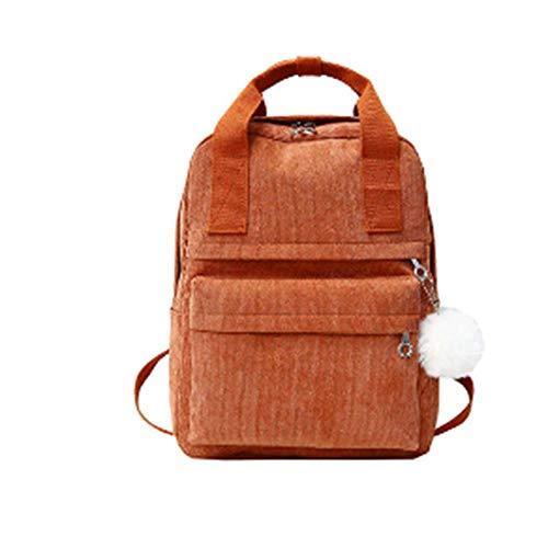 JHDSAUDS Schultasche Rucksack Für Frauen Fellknäuel Einfarbig Cord Rucksack Für Mädchen Frühling Winter Samt Reisetasche Mochila, Rot (Mochila Puma)