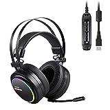 AUKEY Auriculares Gaming de diadema cerrados con micrófono- Cascos USB Estéreo para Juegos con Sonido Envolvente Virtual de 7.1(Negro) Canales y Efectos RGB para Ordenador y ps4